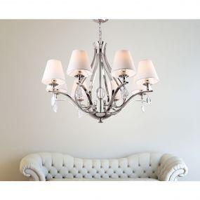 Maxlight Palace - kroonluchter - Ø 80 x 130 cm - chroom en wit