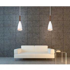 Maxlight Soft - hanglamp - Ø 10 x 120 cm - wit en bruin