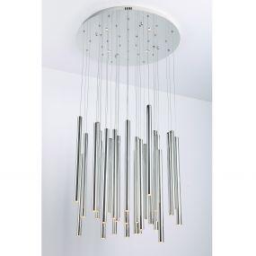 Maxlight Organic - hanglamp - Ø 62 x 120 cm - 33 x 1W + 4 x 3W LED incl. - chroom