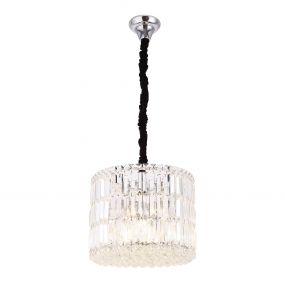 Maxlight Puccini - hanglamp - Ø 40 x 120 cm - chroom en zwart