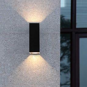Artdelight Vegas - buiten wandverlichting - 5 x 5 x 15 cm - 2 x 1,5W LED incl. - IP65 - zwart
