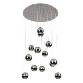 Maxlight Zen - hanglamp - Ø 60 x 200 cm - 13 x 4W LED incl. - chroom
