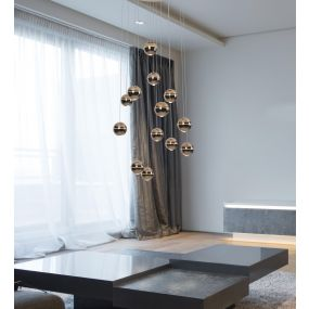 Maxlight Zen - hanglamp - Ø 60 x 200 cm - 13 x 4W LED incl. - koper
