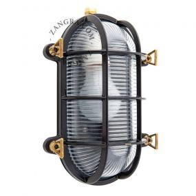 Zangra Waterproof - wand/plafondlamp - 23 x 16 x 11 cm - IP55 - zwart en messing